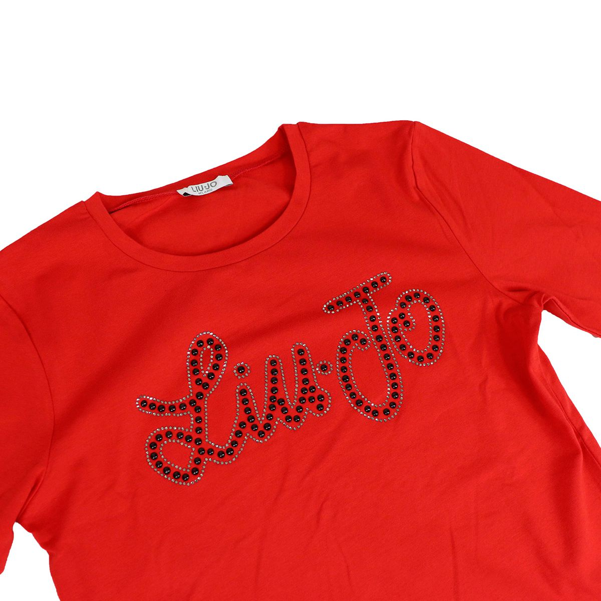 Cotton crew neck sweater with studded logo Red Liu Jo