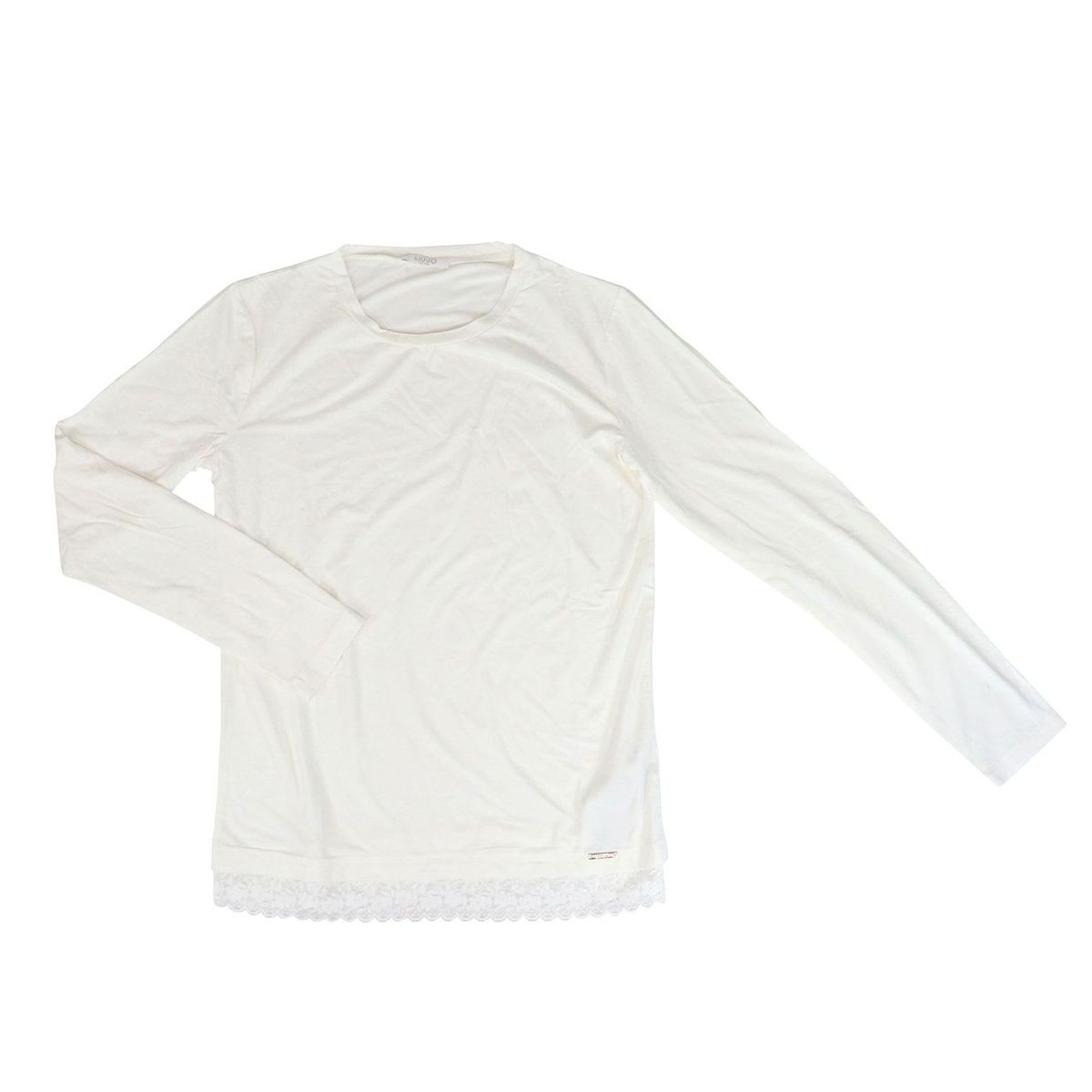 Crew-neck sweater in stretch cotton with lace on the bottom White Liu Jo