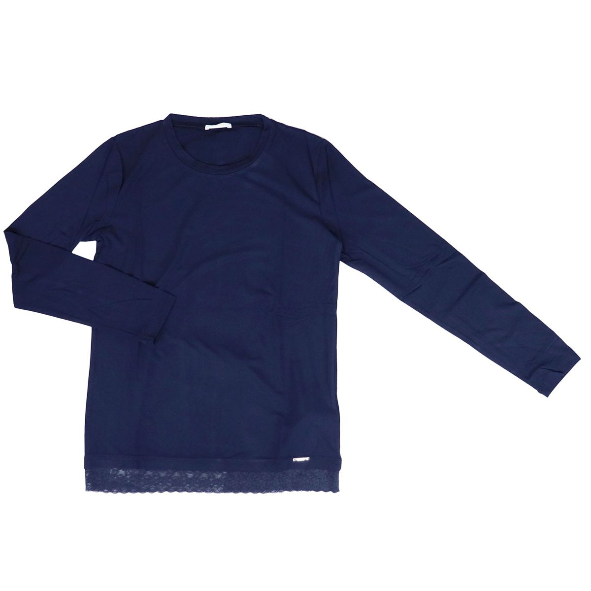 Crew-neck sweater in stretch cotton with lace on the bottom Blue Liu Jo