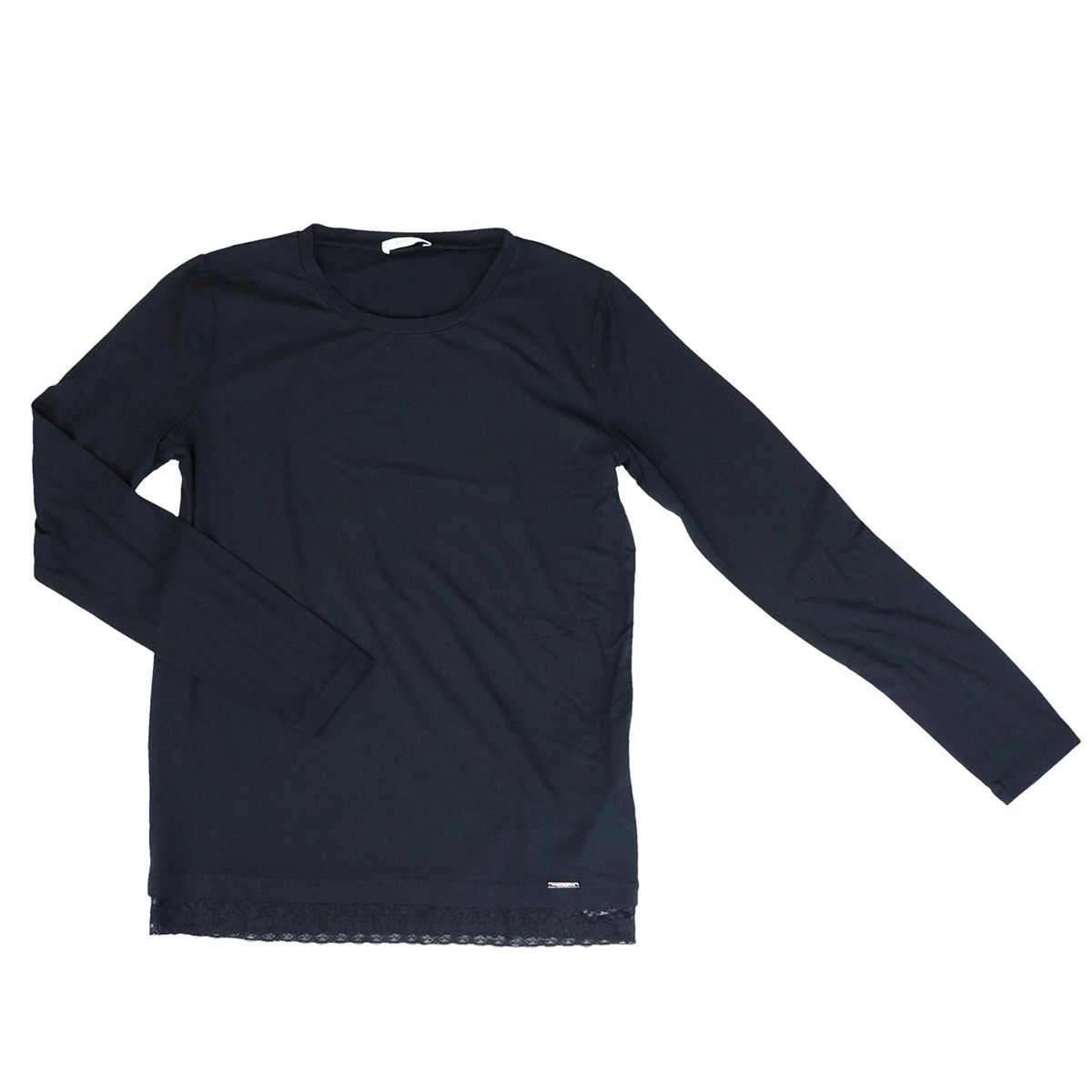 Crew-neck sweater in stretch cotton with lace on the bottom Black Liu Jo