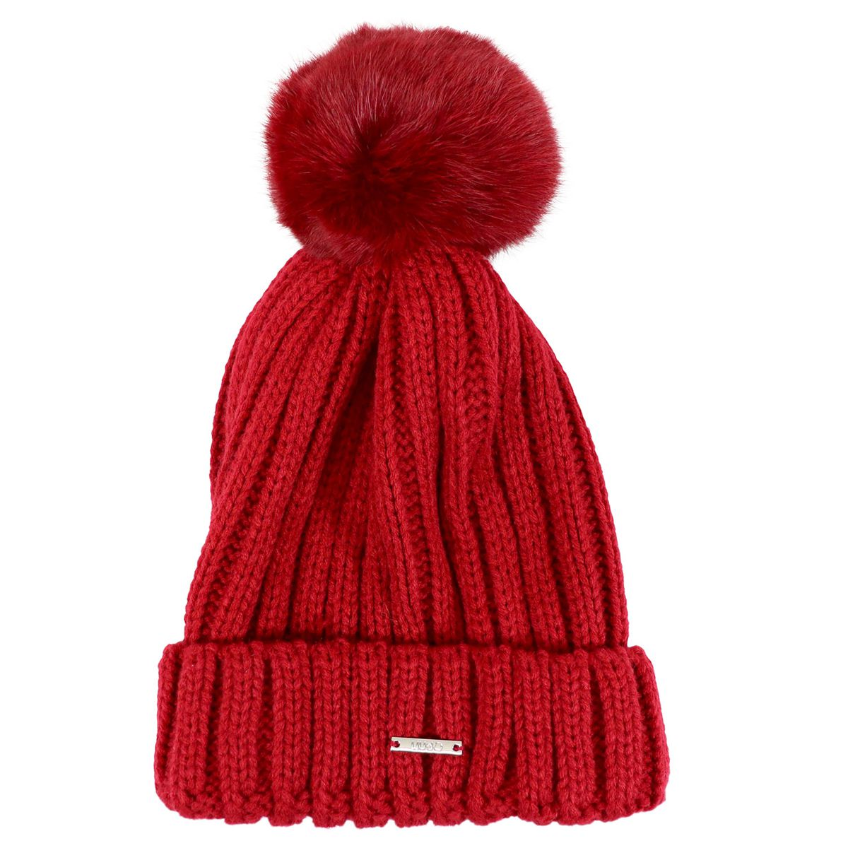 Ribbed wool hat with logo and pon pon Red Liu Jo