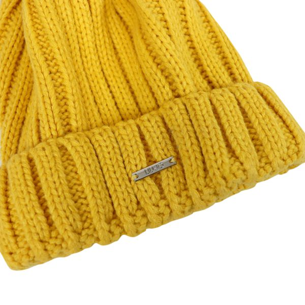 Ribbed wool hat with logo and pon pon Yellow Liu Jo