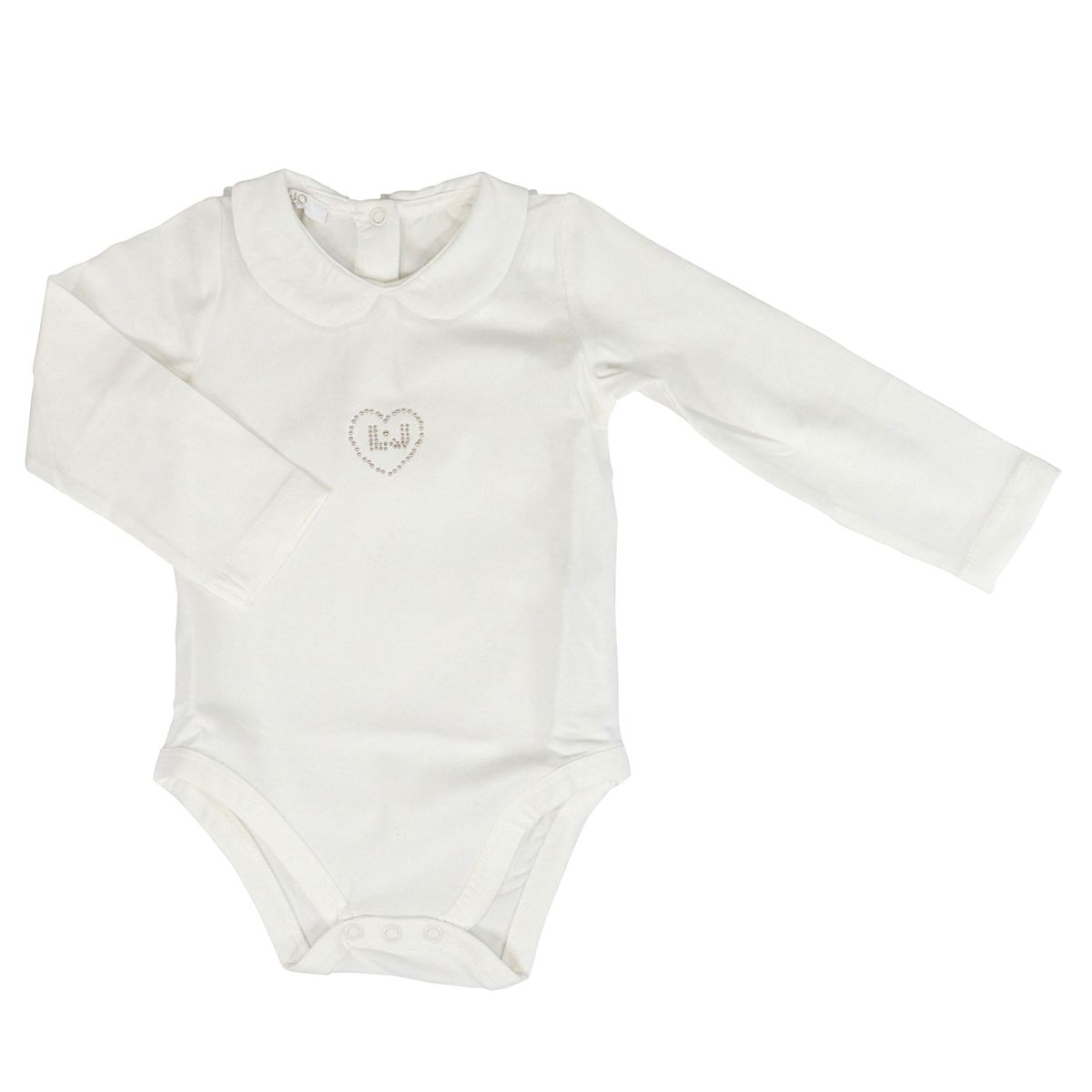 Cotton bodysuit with rhinestones White Liu Jo