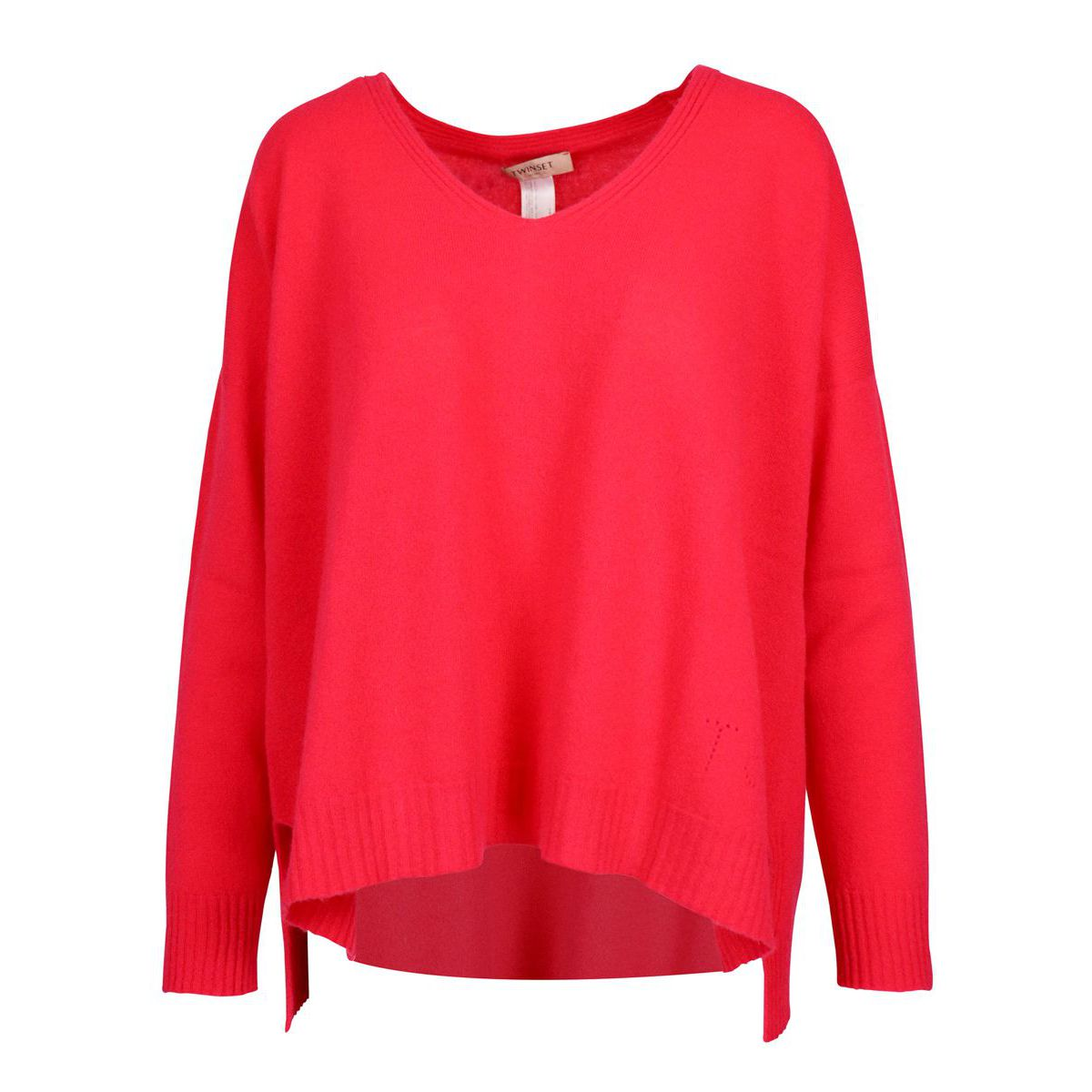 Asymmetric length sweater in wool and cashmere Coral Twin-Set