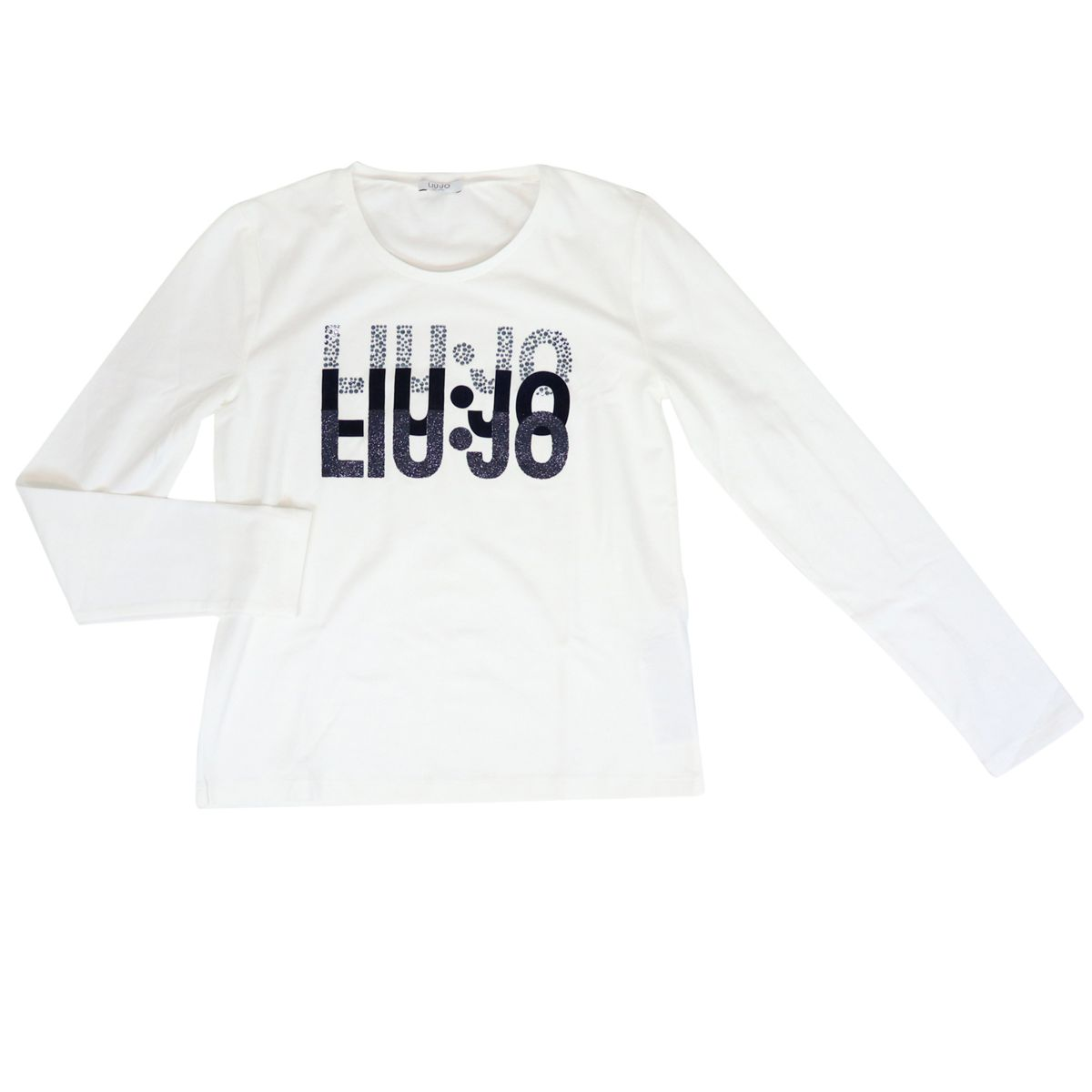 Long sleeve t-shirt with glitter logo and rhinestones White Liu Jo