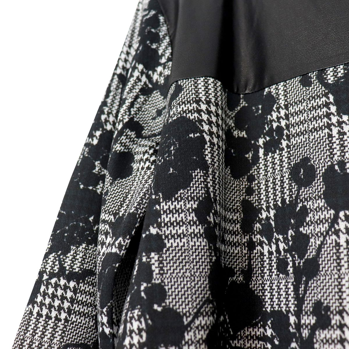 Lace and houndstooth print dress with faux leather insert Black Liu Jo