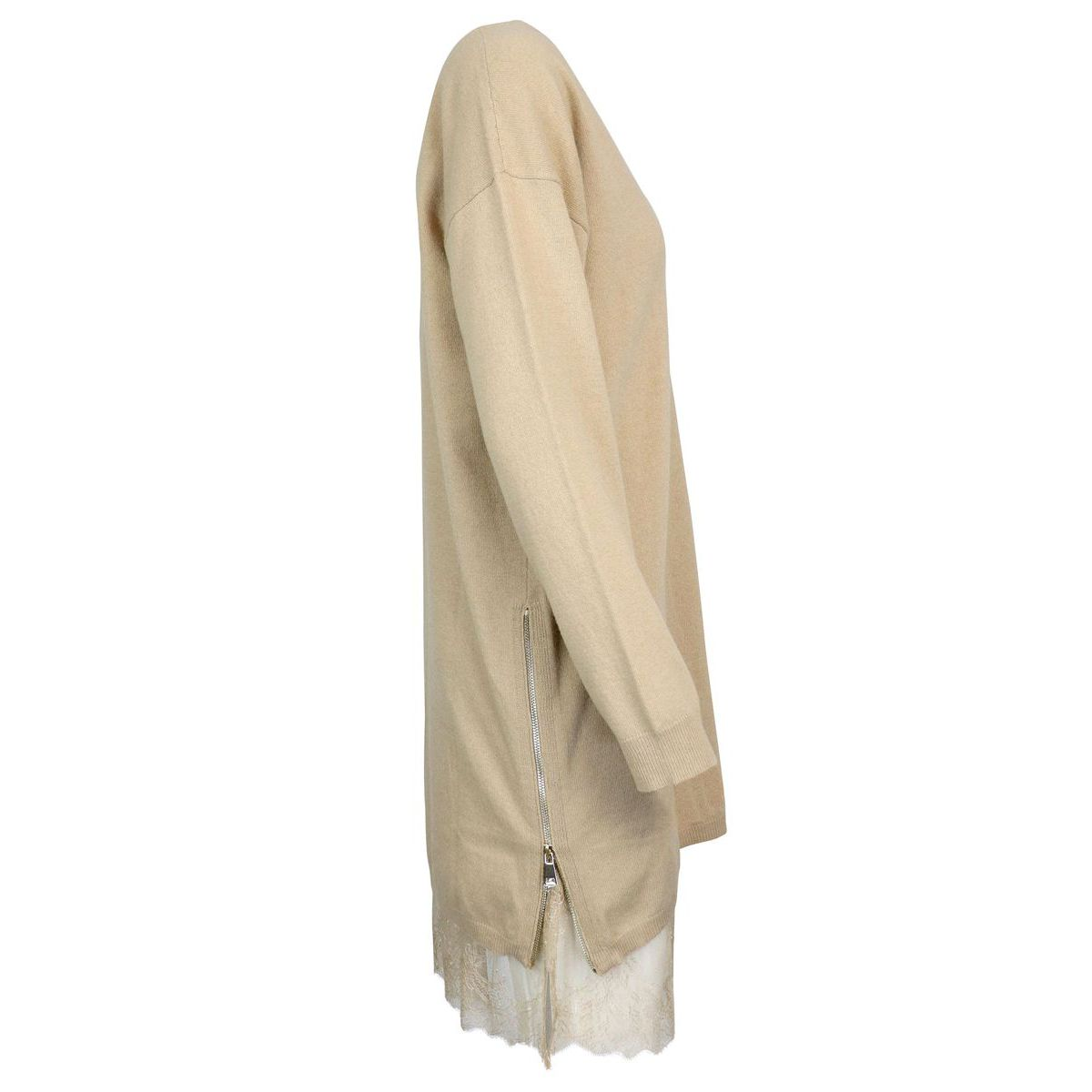 Maxi sweater in wool and viscose blend with lace and zipper inserts Camel Twin-Set