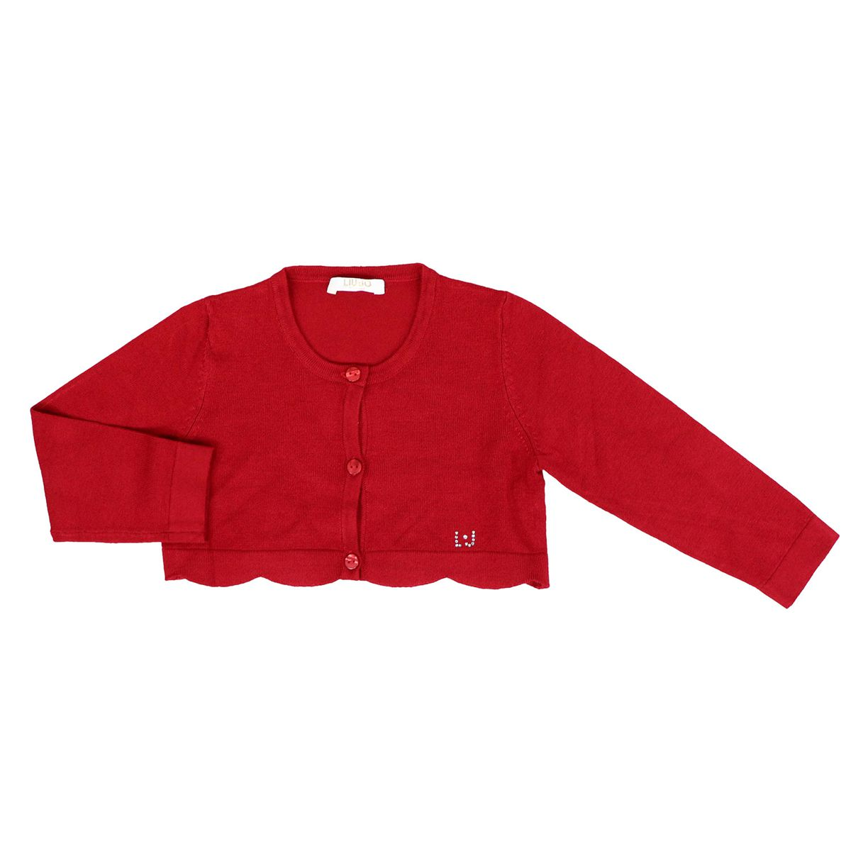Short cardigan with scalloped edge and glitter logo Red Liu Jo