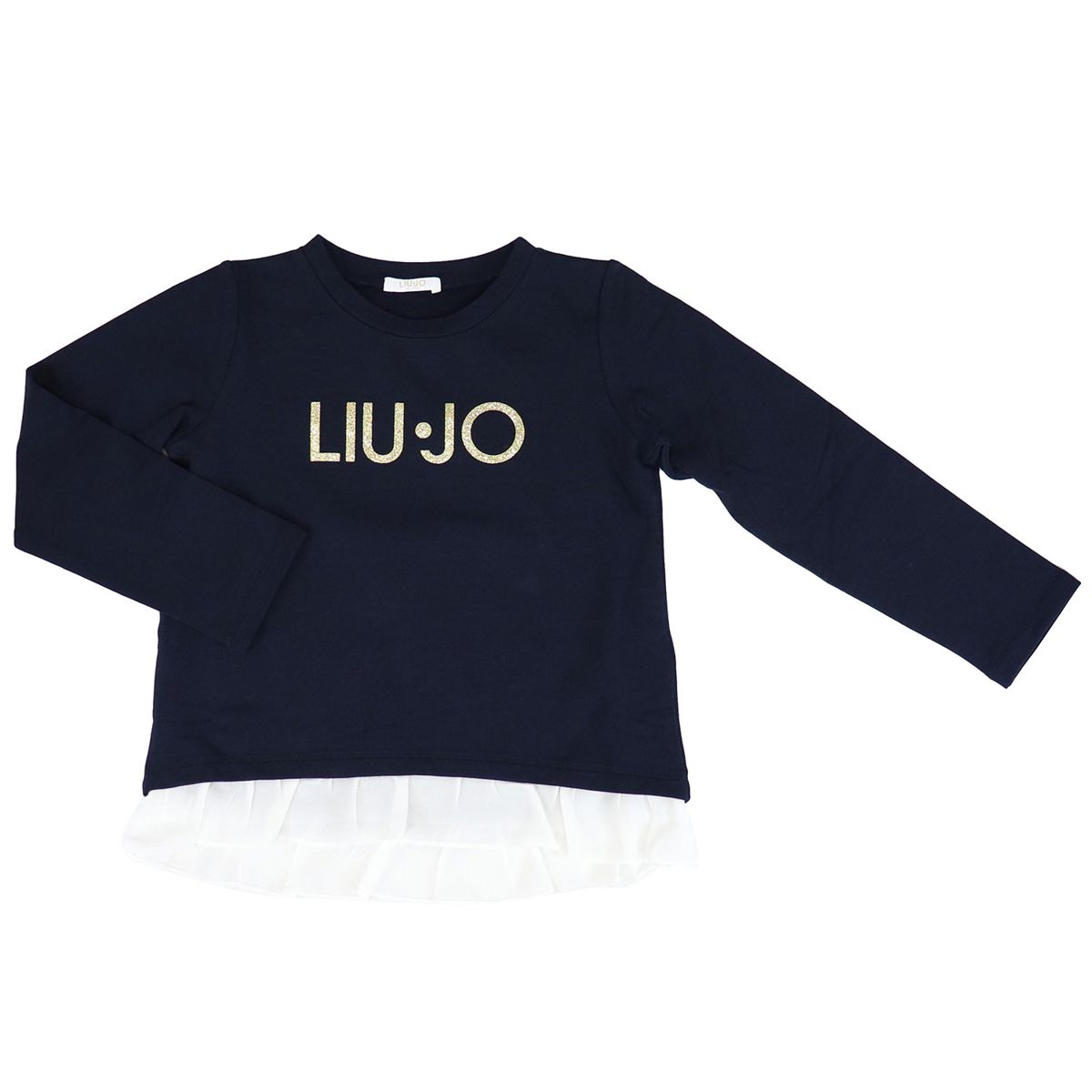 Cotton sweatshirt with logo and rouches on the bottom Blue Liu Jo