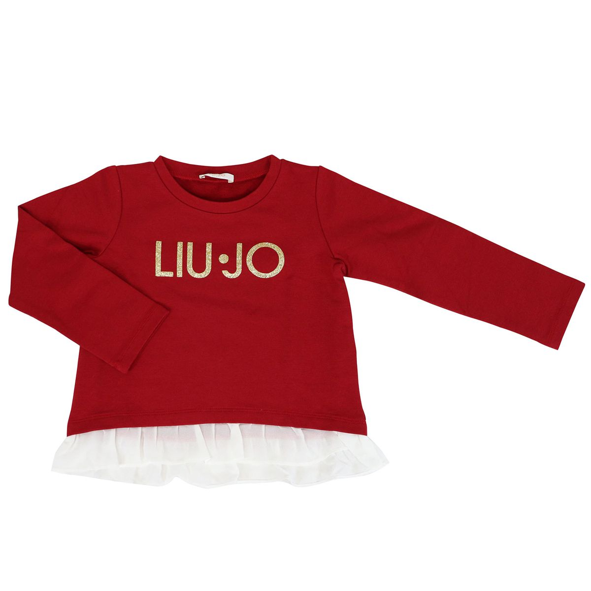 Cotton sweatshirt with logo and rouches on the bottom Red Liu Jo