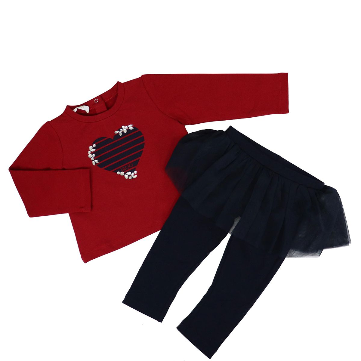 Cotton outfit with print and flounces Red blue Liu Jo