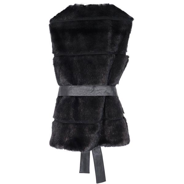 Faux fur vest with belt and studded inserts Black Liu Jo