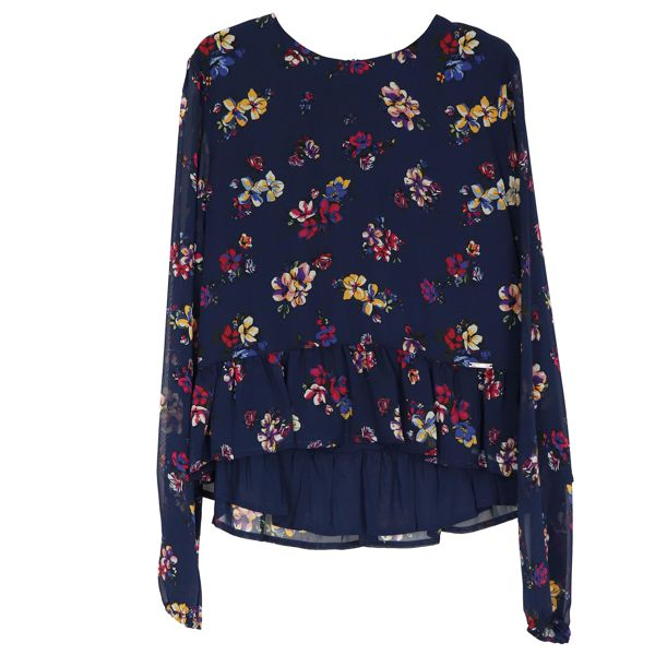 Creponne blouse with floral print and flounces on the bottom. Blue Liu Jo