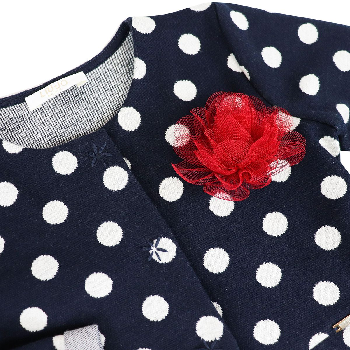 Polka dot cotton jersey cardigan with tulle bow Blue Liu Jo