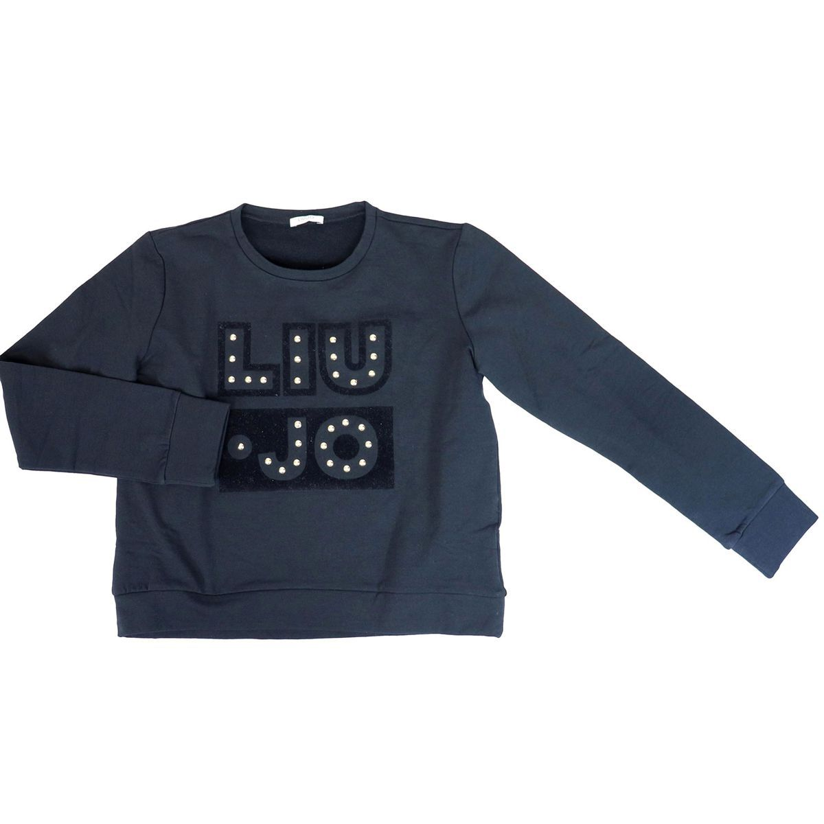 Crewneck sweatshirt with logo and applications Black Liu Jo