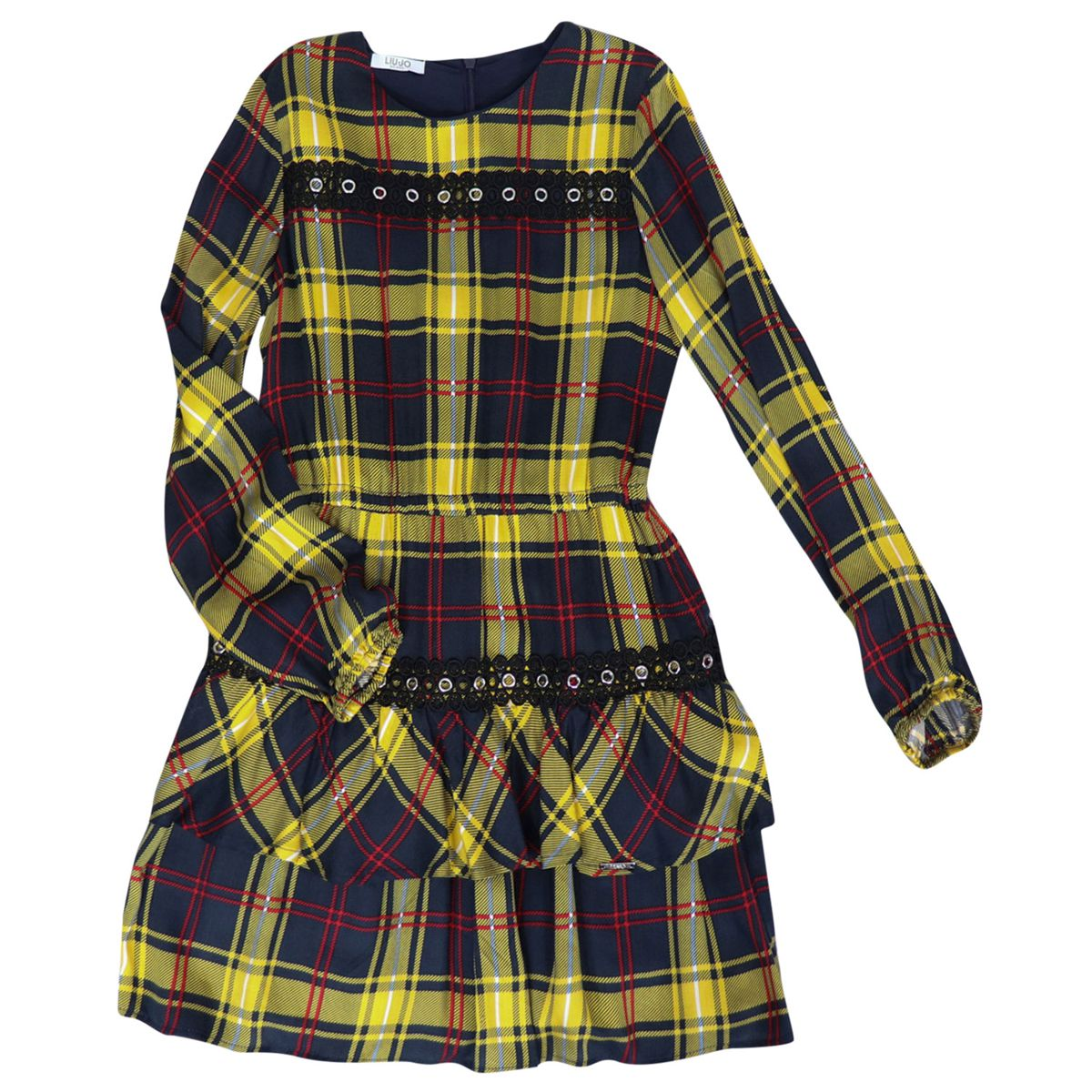 Dress in pure viscose with check and flounce print Blue / yellow Liu Jo