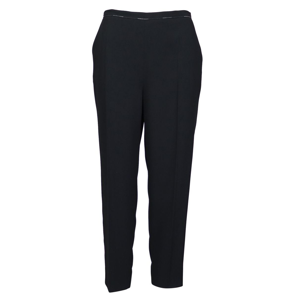 Straight slim crepe trousers with central crease Black Elisabetta Franchi