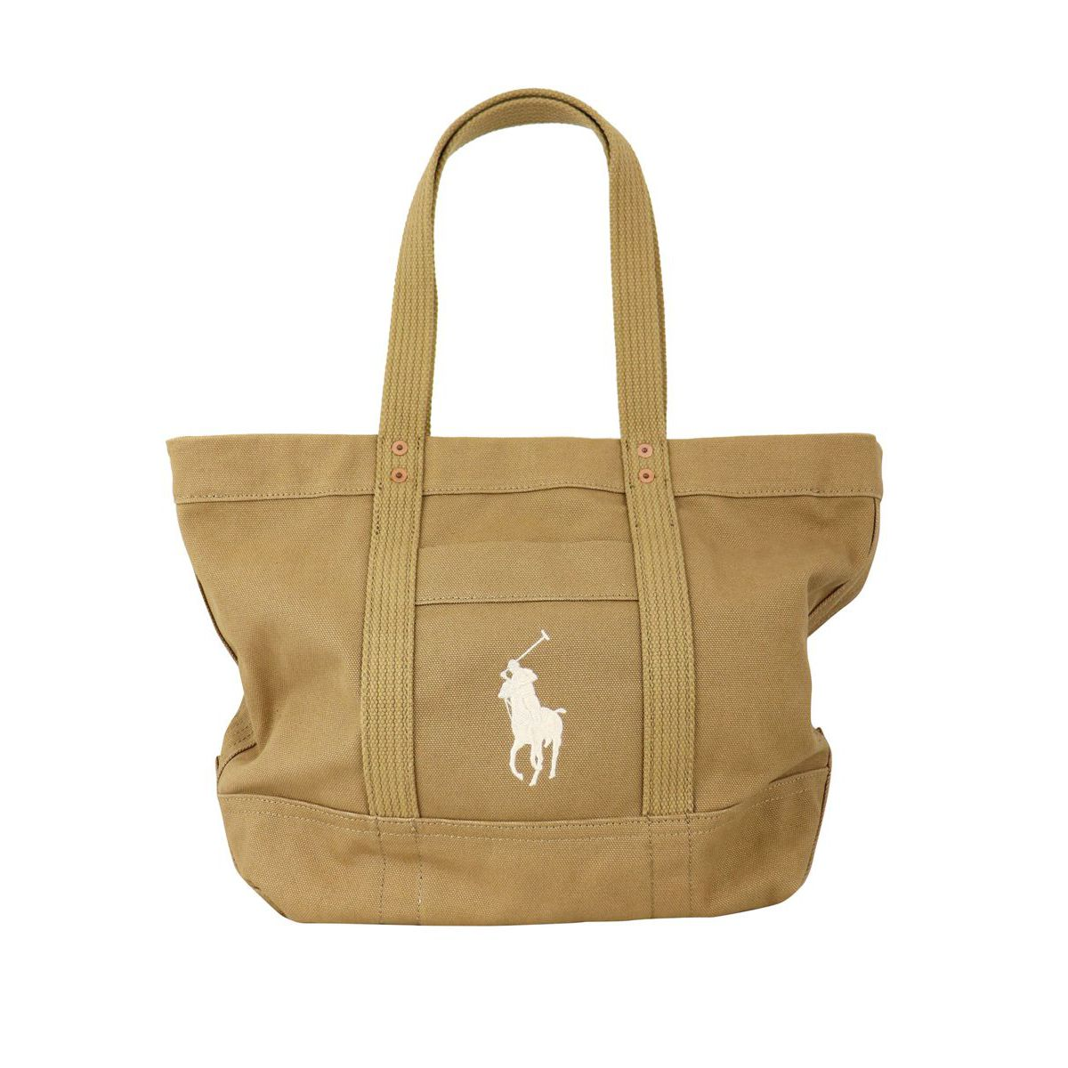 Cotton canvas tote bag with large embroidered logo Kaki Polo Ralph Lauren