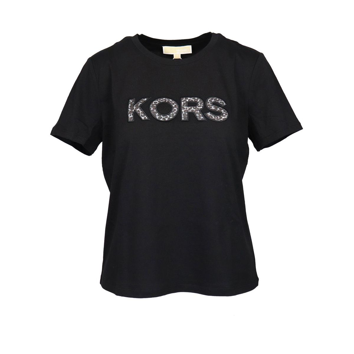 Short sleeve t-shirt with spotted logo Black Michael Kors
