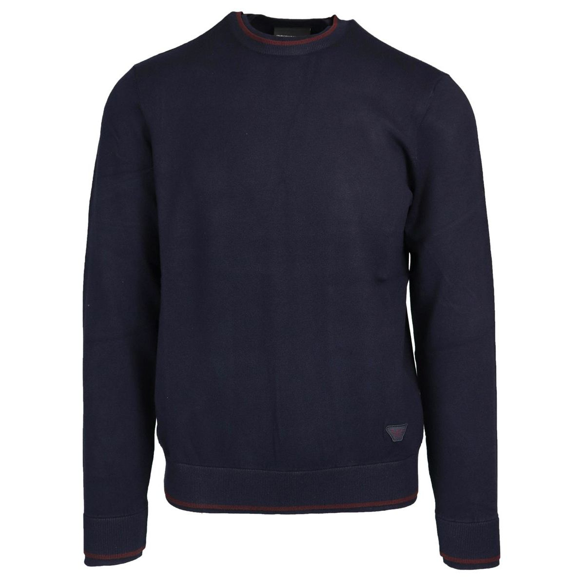 Crewneck sweater in viscose blend with contrasting edge logo Navy Emporio Armani