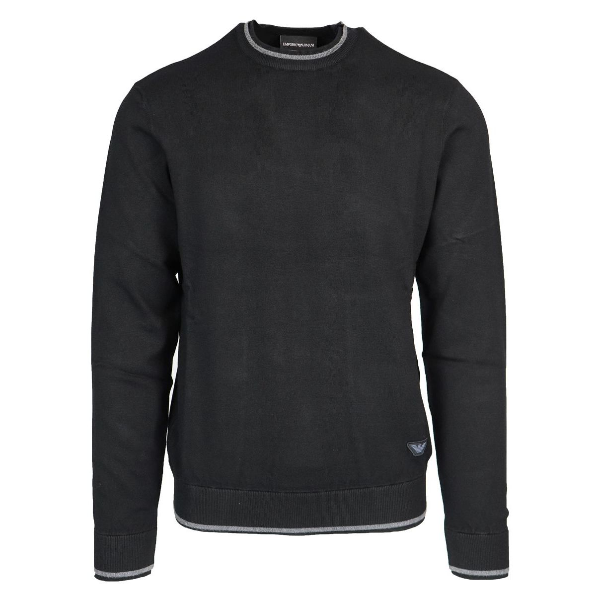 Crewneck sweater in viscose blend with contrasting edge logo Black Emporio Armani
