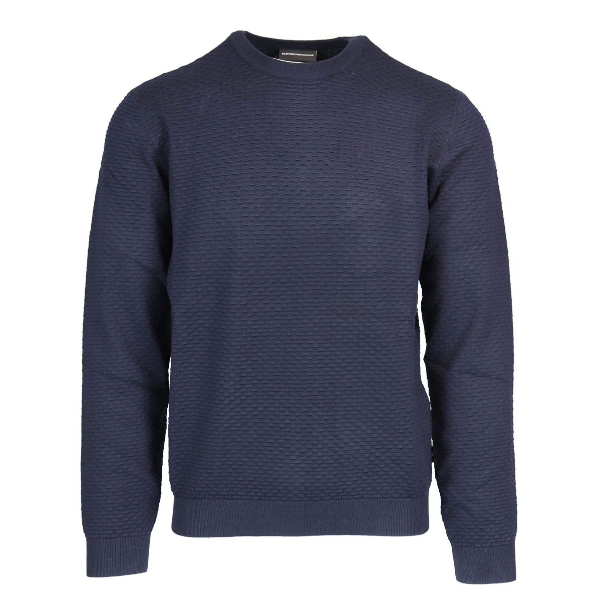 Crewneck sweater in viscose blend with relief contrasts Navy Emporio Armani