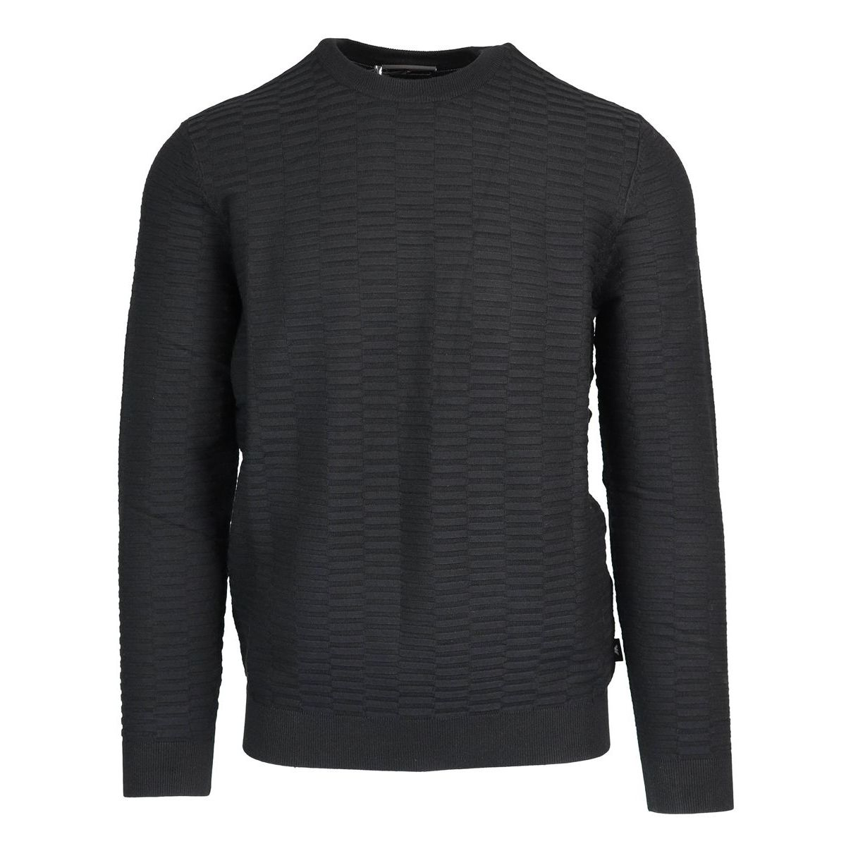 Crewneck sweater in viscose blend with relief contrasts Black Emporio Armani