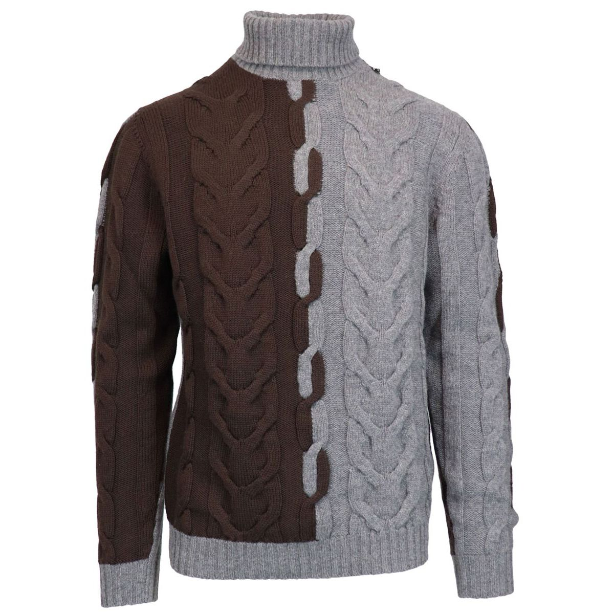 Two-colored turtleneck sweater in woven wool and cashmere Moro Alpha Studio