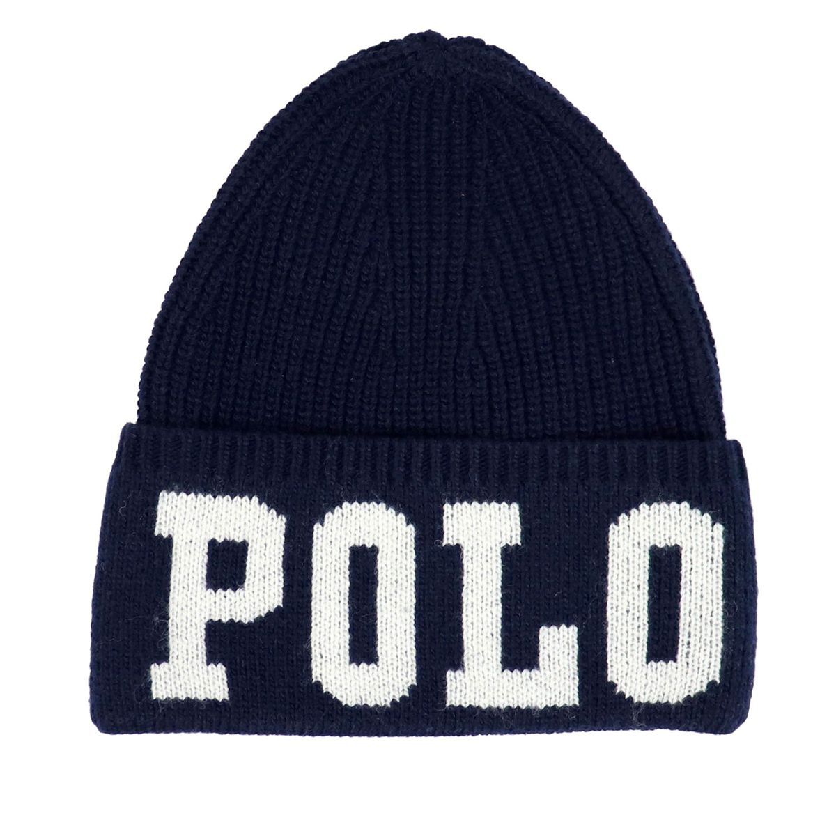 Wool cap with turn-up and contrast logo Blue Polo Ralph Lauren
