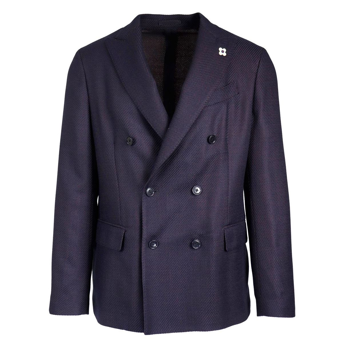 Easy Wear double-breasted wool jacket Blue Lardini