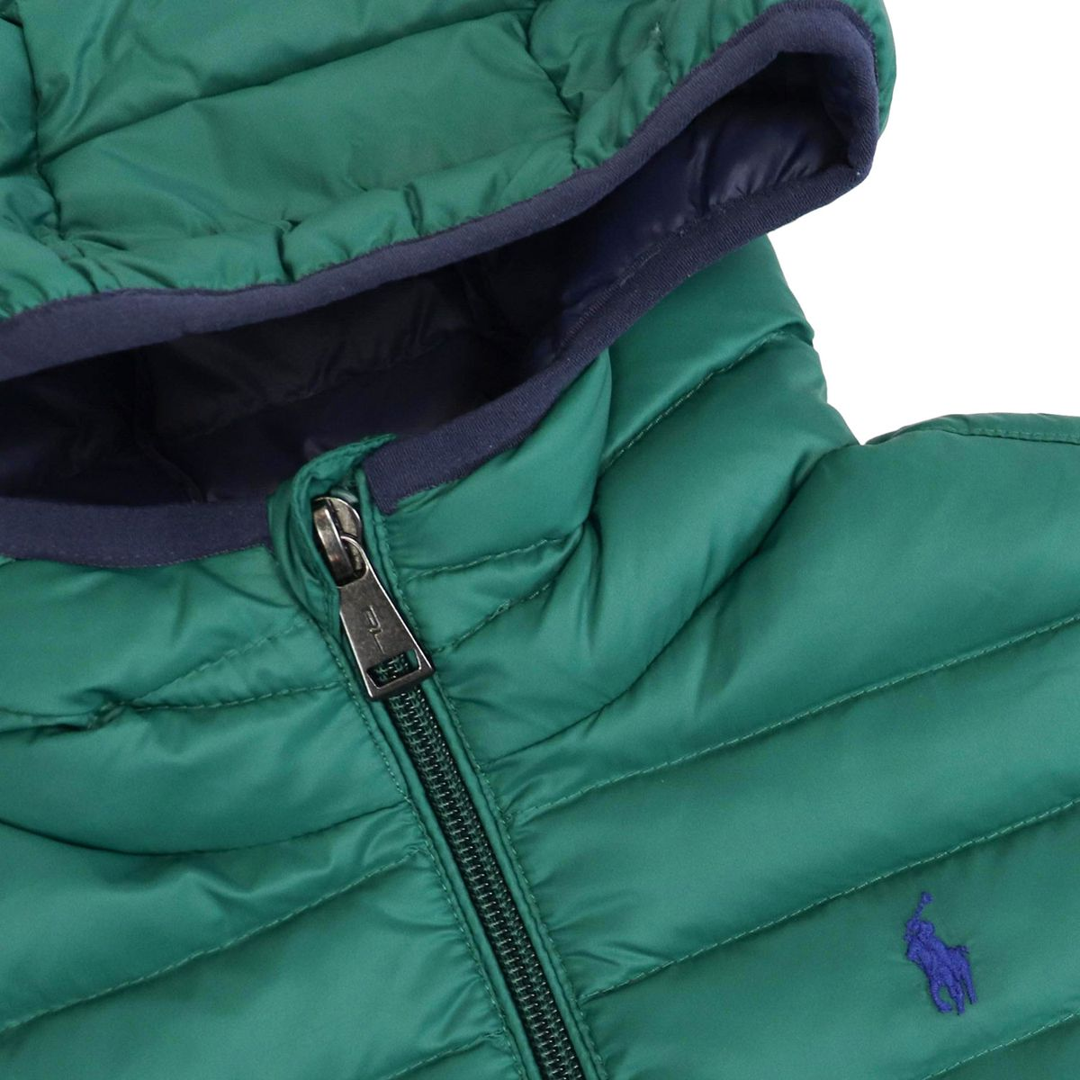 Quilted nylon quilted jacket with hood and logo Green Polo Ralph Lauren