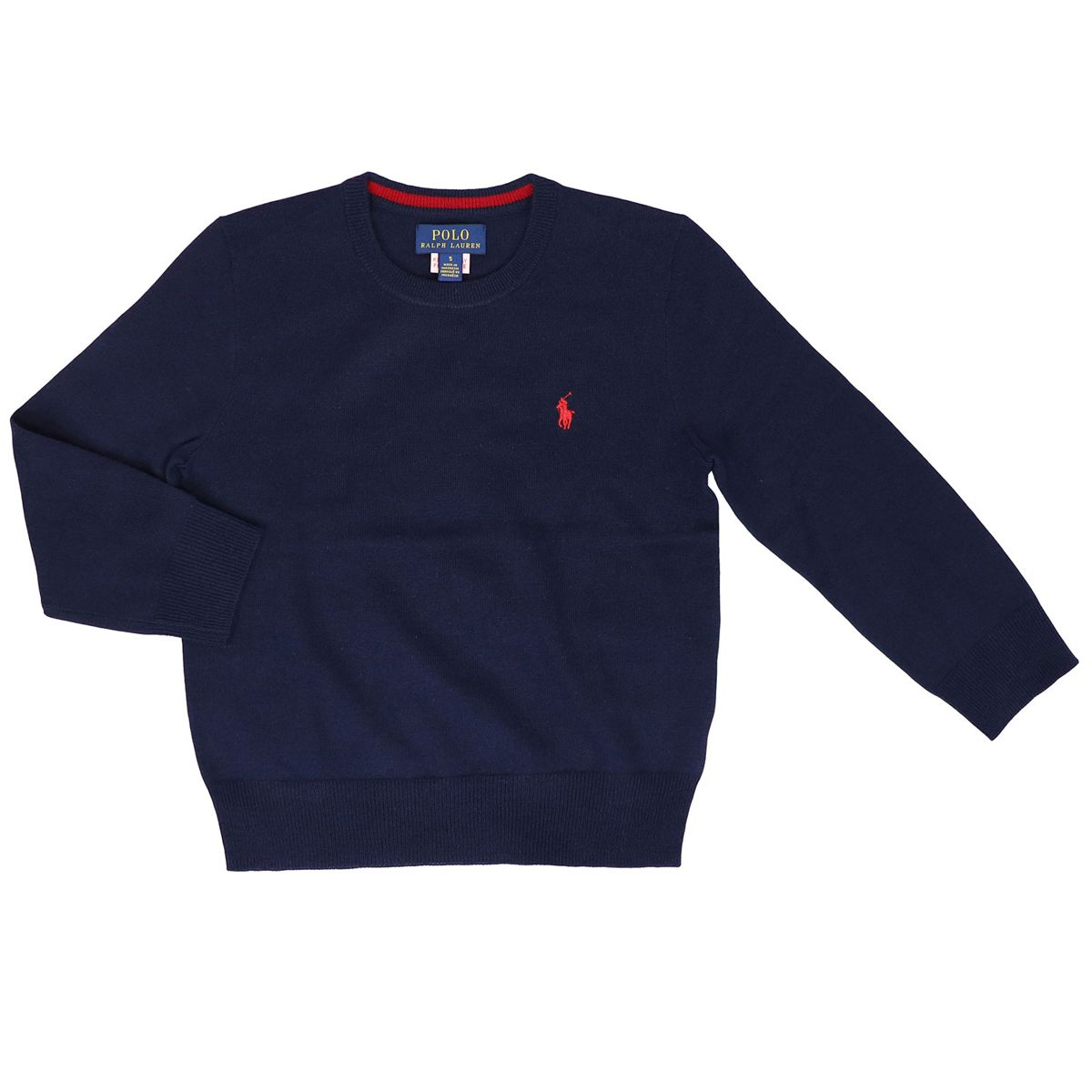 Crewneck cotton sweater with contrast logo Blue Polo Ralph Lauren