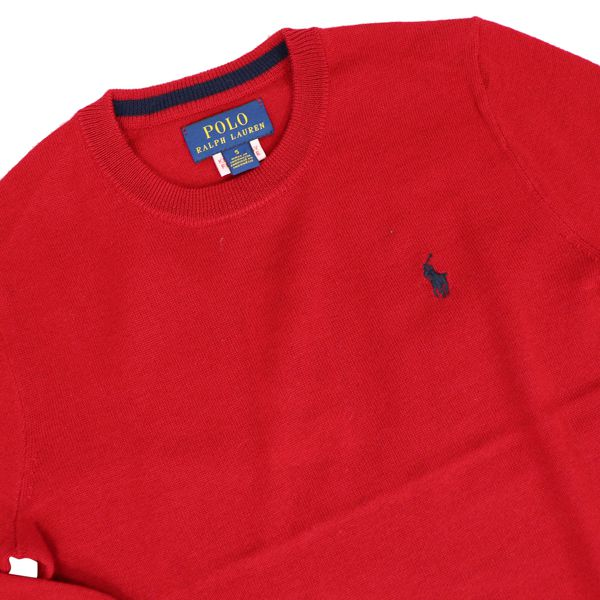 Crewneck cotton sweater with contrast logo Red Polo Ralph Lauren