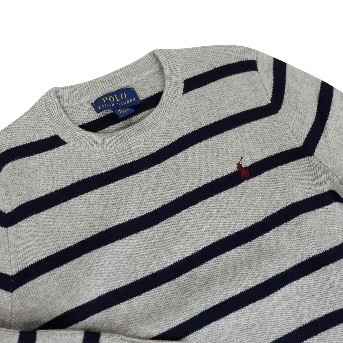 Crew-neck pullover in cotton with striped pattern Gray / blue Polo Ralph Lauren