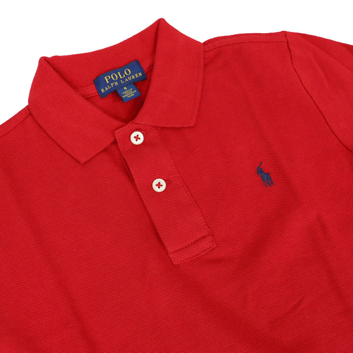 Long sleeve polo shirt with small embroidered logo Red Polo Ralph Lauren