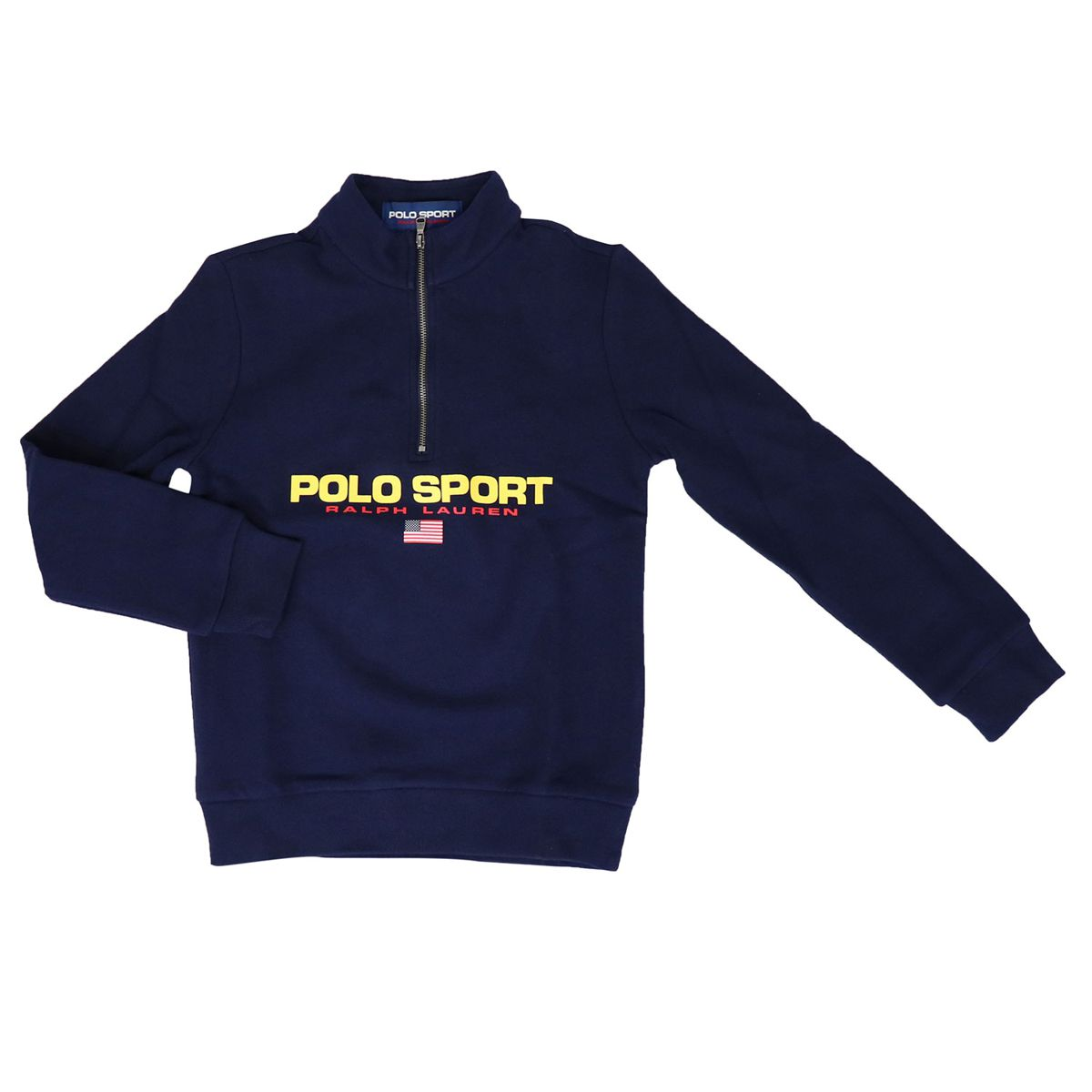 Cotton blend sweatshirt with logo print and zip Blue Polo Ralph Lauren