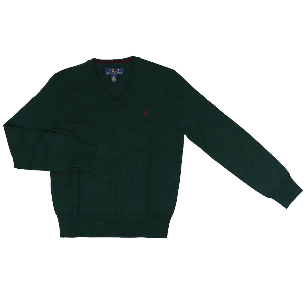 Wool pullover with V-neck and logo embroidery Green Polo Ralph Lauren