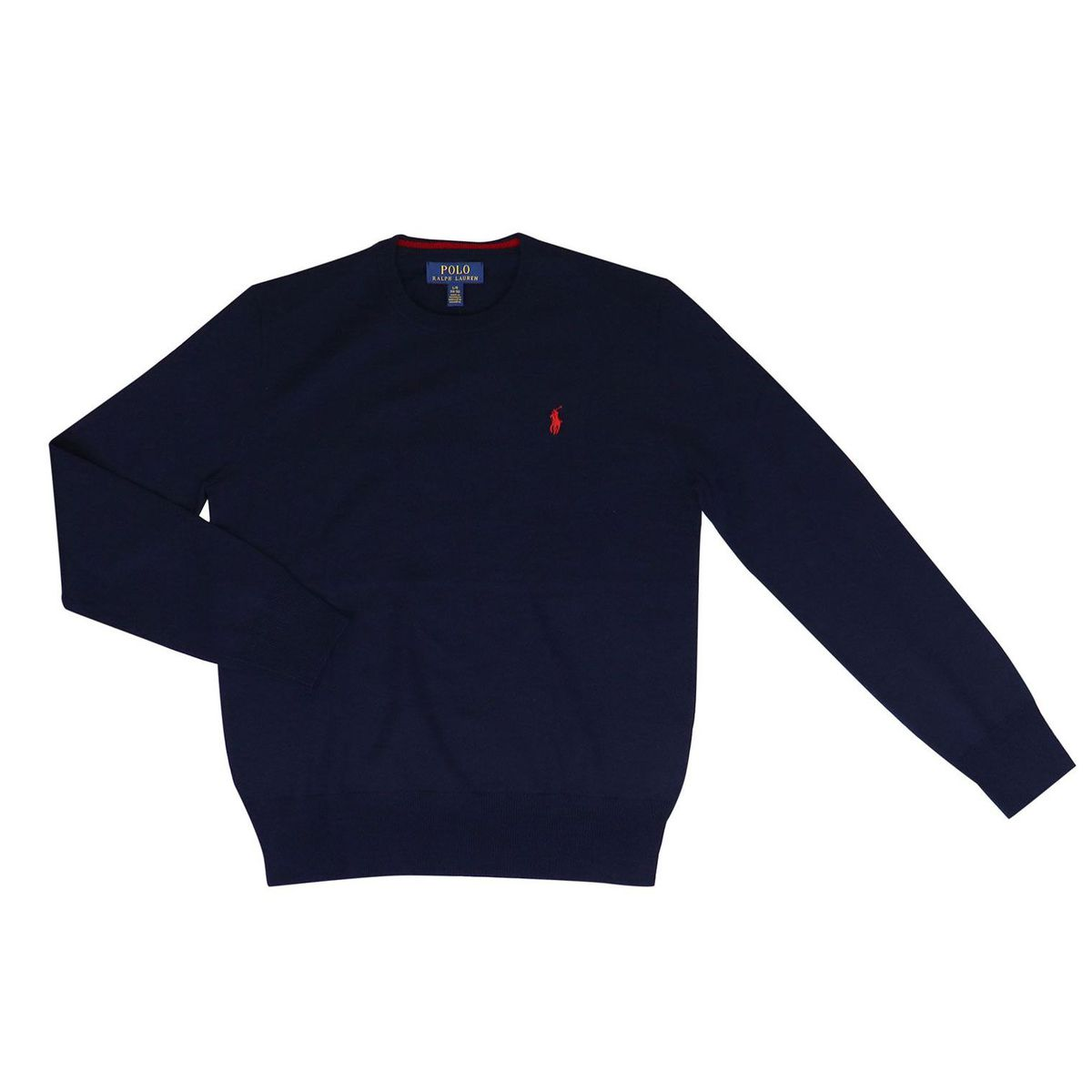 Crewneck wool pullover with contrast logo Blue Polo Ralph Lauren