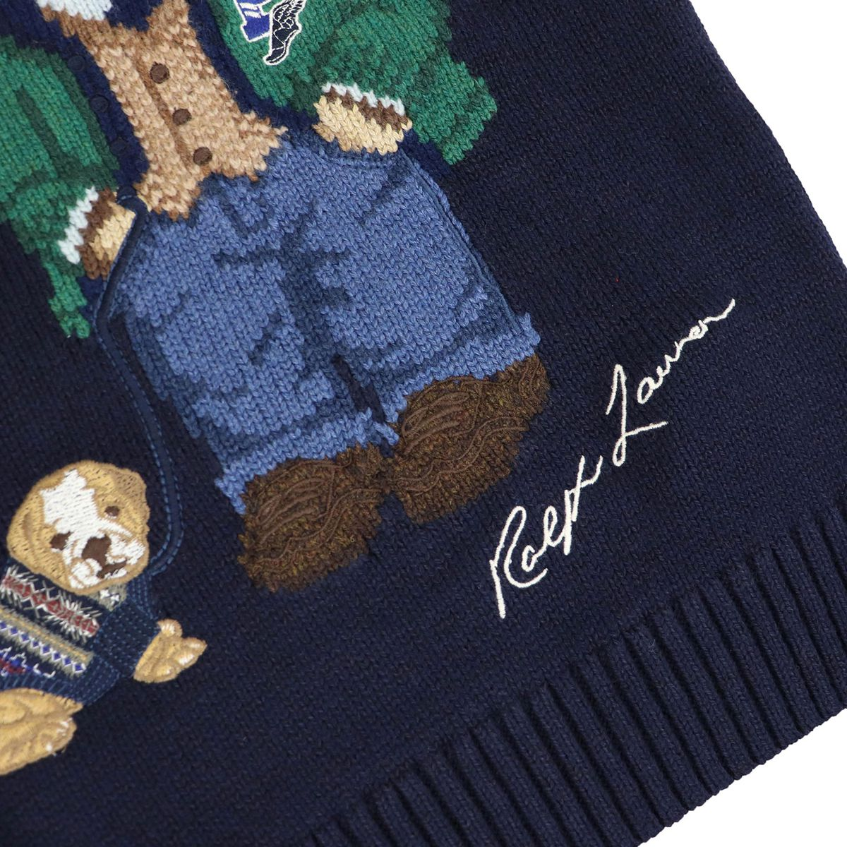 Crew-neck pullover in wool blend with bear print Blue Polo Ralph Lauren