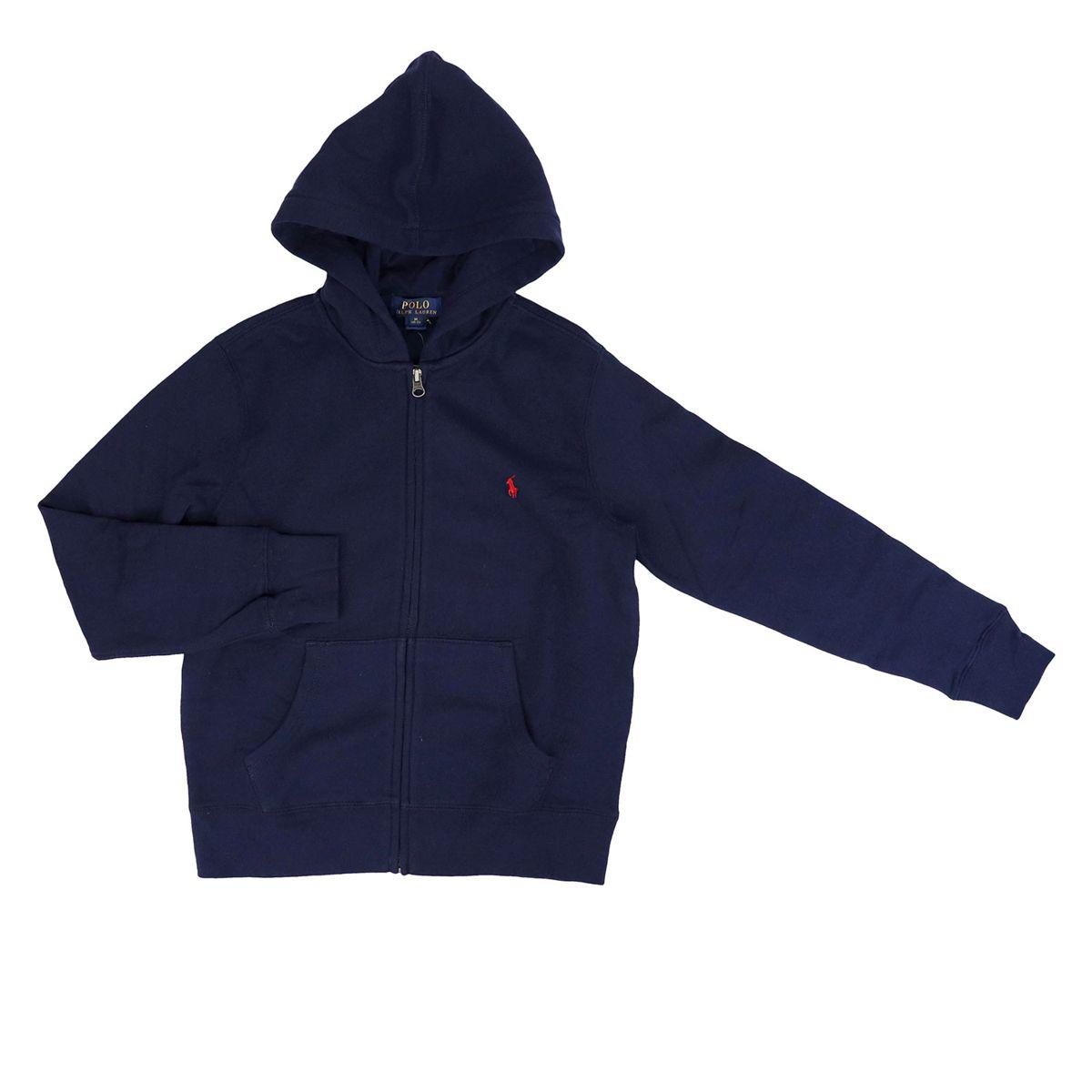 Cotton sweatshirt with zip and hood Blue Polo Ralph Lauren