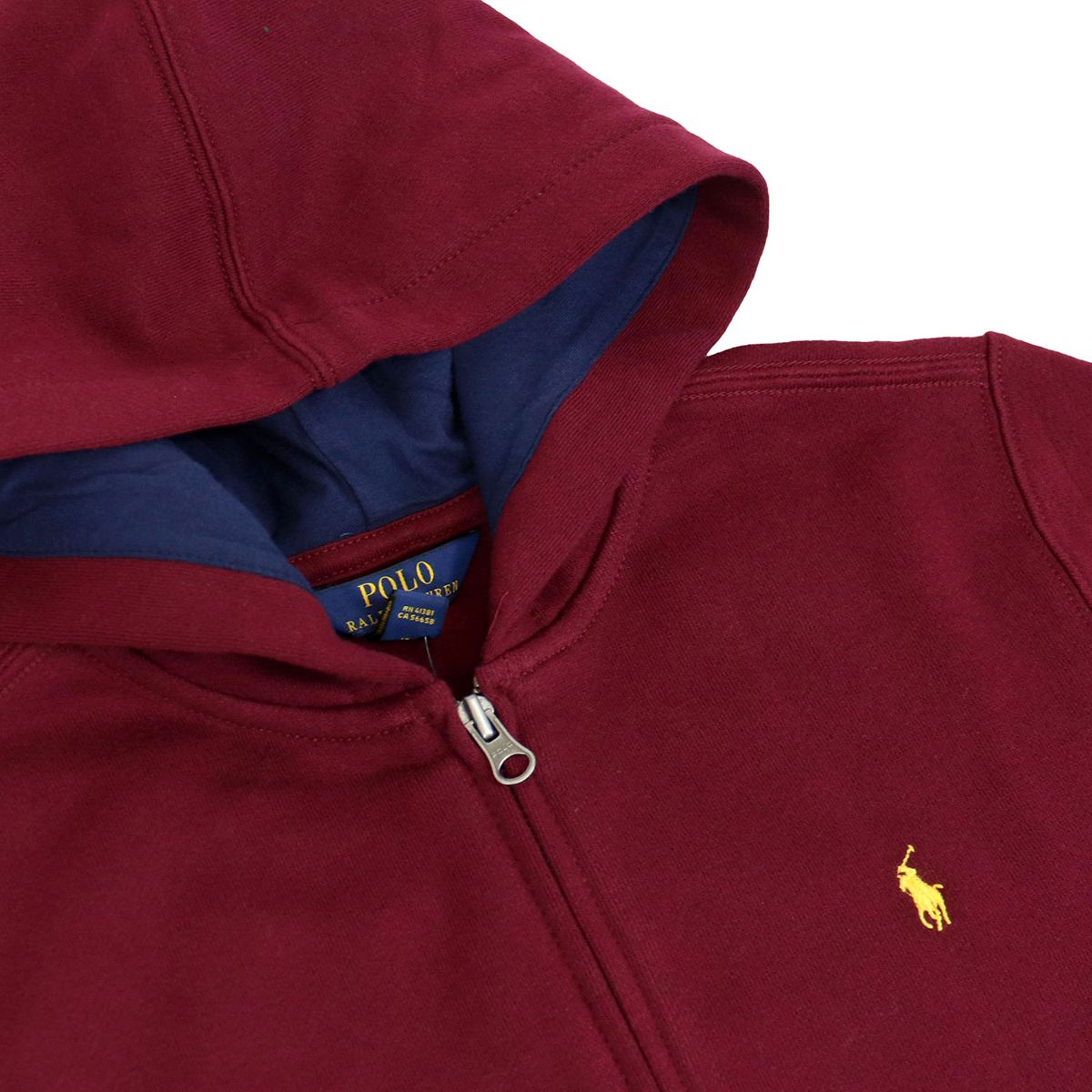 Cotton sweatshirt with hood and zip Bordeaux Polo Ralph Lauren