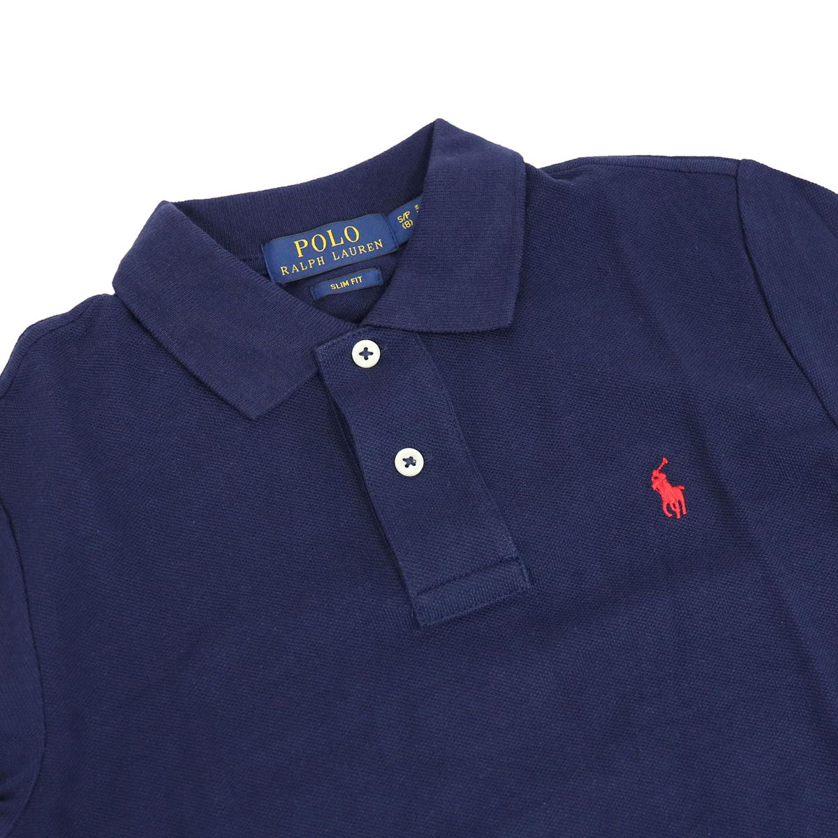 Two-button cotton polo shirt with contrast logo embroidery Blue Polo Ralph Lauren