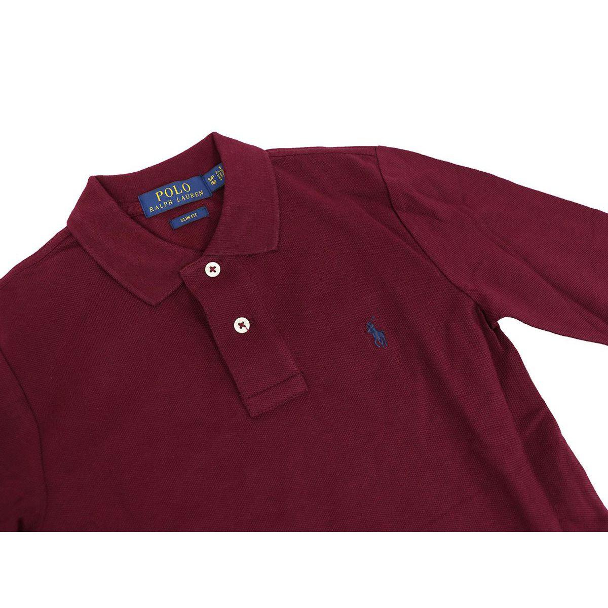 Two-button cotton polo shirt with contrast logo embroidery Bordeaux Polo Ralph Lauren