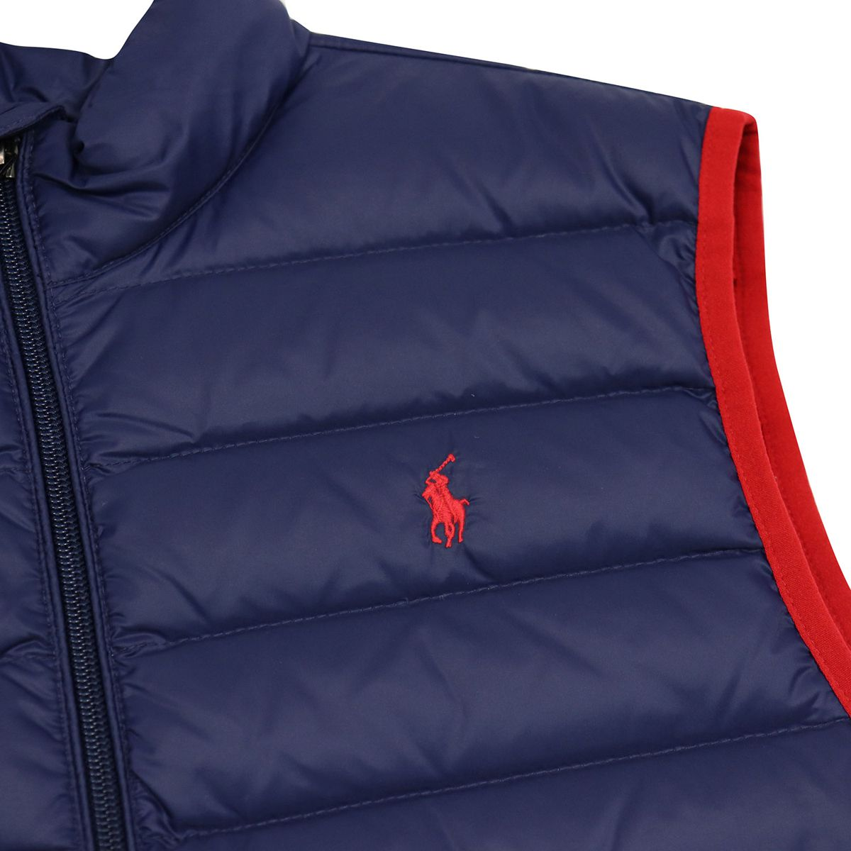 Quilted nylon vest with zip and contrasting edges Blue / red Polo Ralph Lauren
