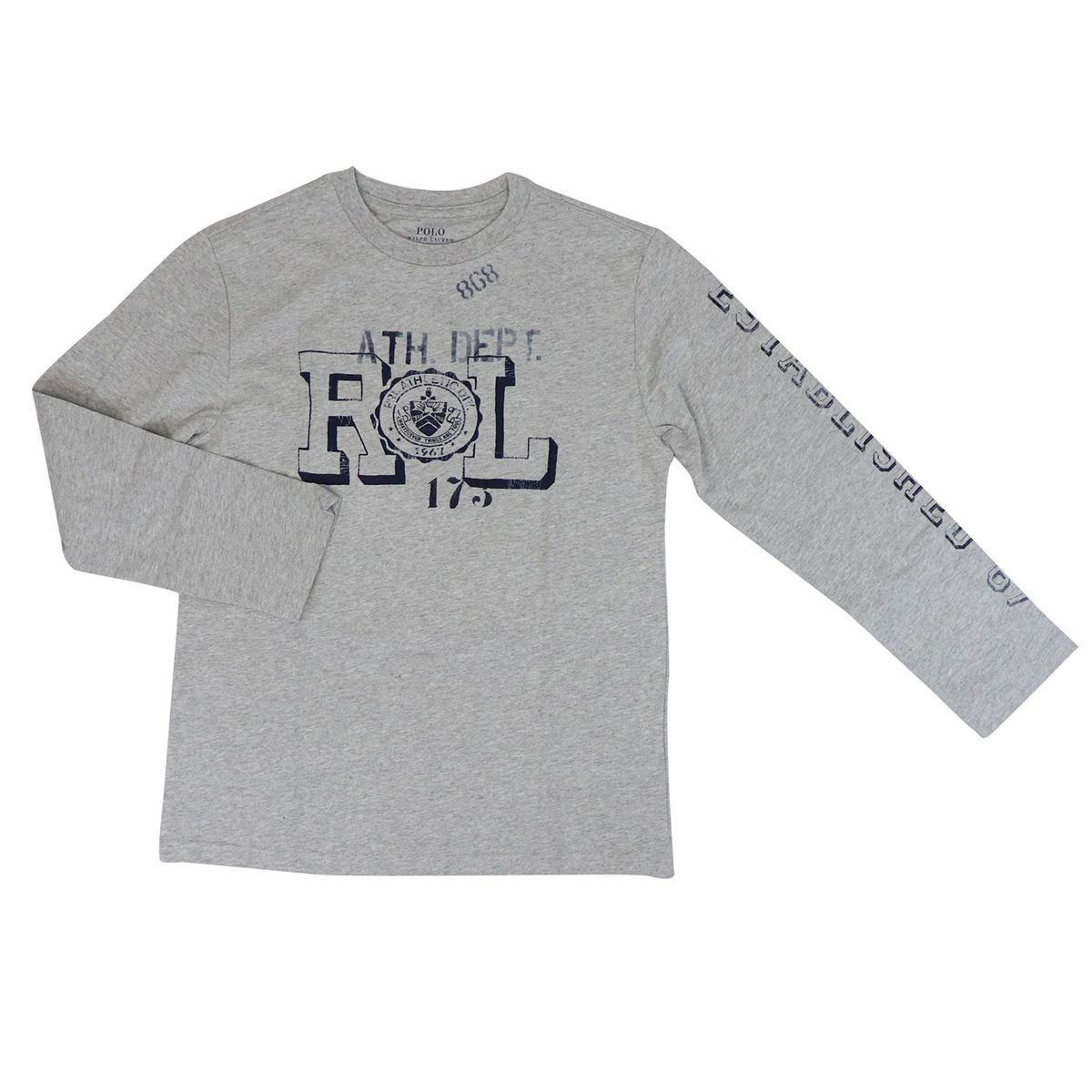 Cotton crew neck sweater with contrasting prints Grey Polo Ralph Lauren