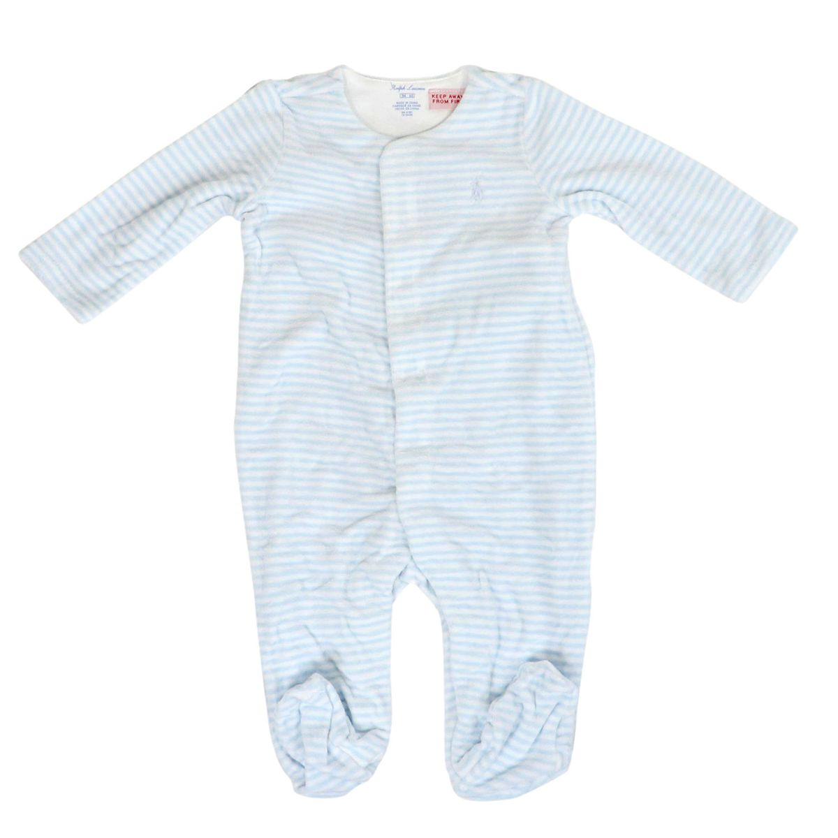 Chenille coverall with cap and bear Blue white Polo Ralph Lauren