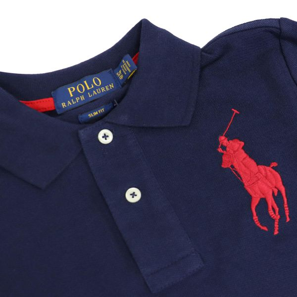 Polo in cotone a due bottoni con ricamo logo Blu Polo Ralph Lauren
