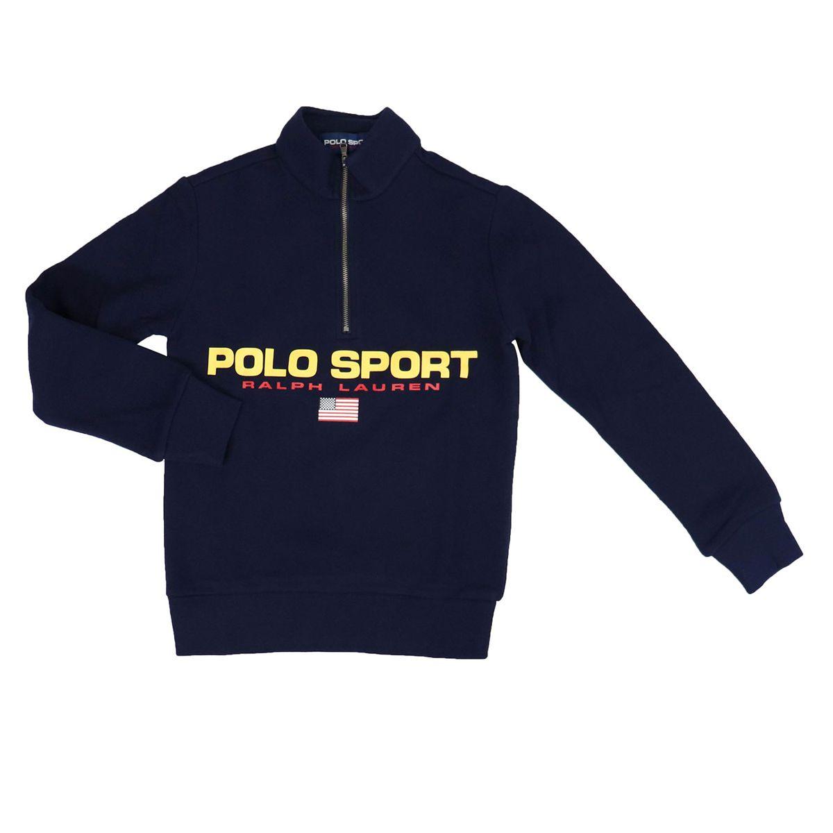 Cotton sweatshirt with contrast zip and logo Navy Polo Ralph Lauren