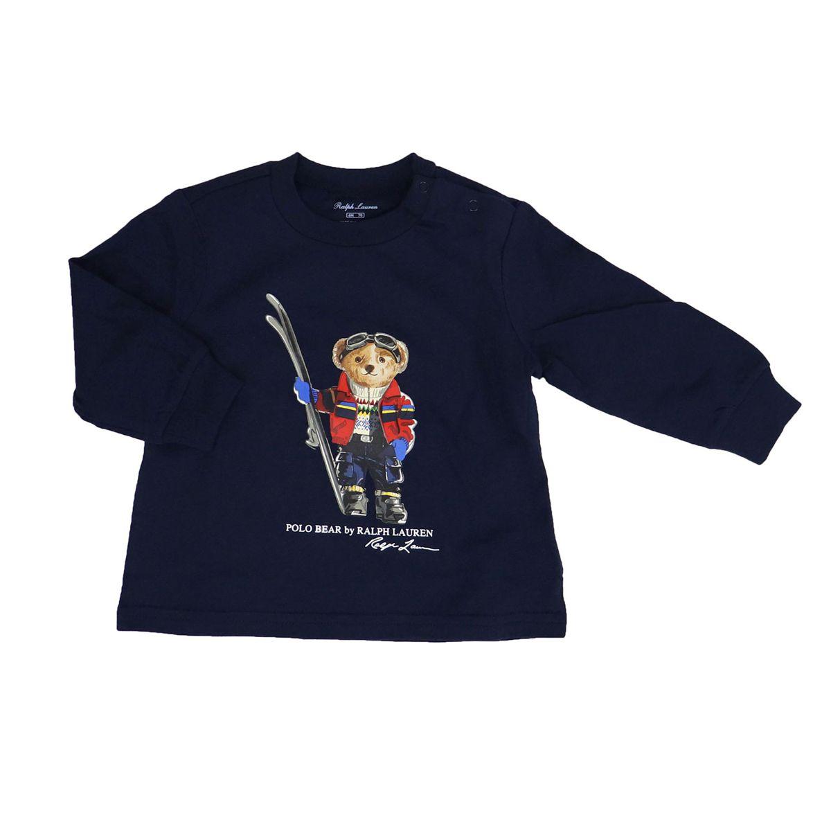 Crew-neck cotton sweatshirt with bear print Blue Polo Ralph Lauren