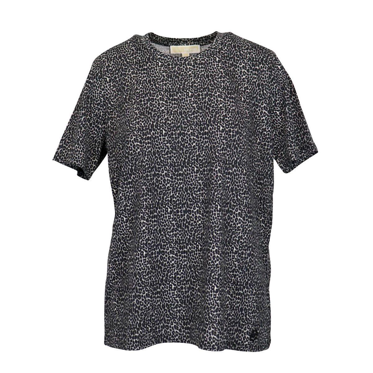 Crew-neck cotton t-shirt with animal print Grey Michael Kors